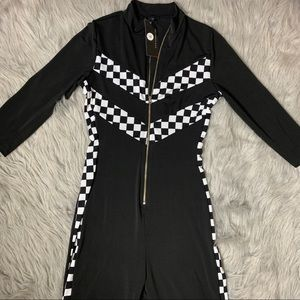 Checkerboard Mid Thigh Jumpsuit